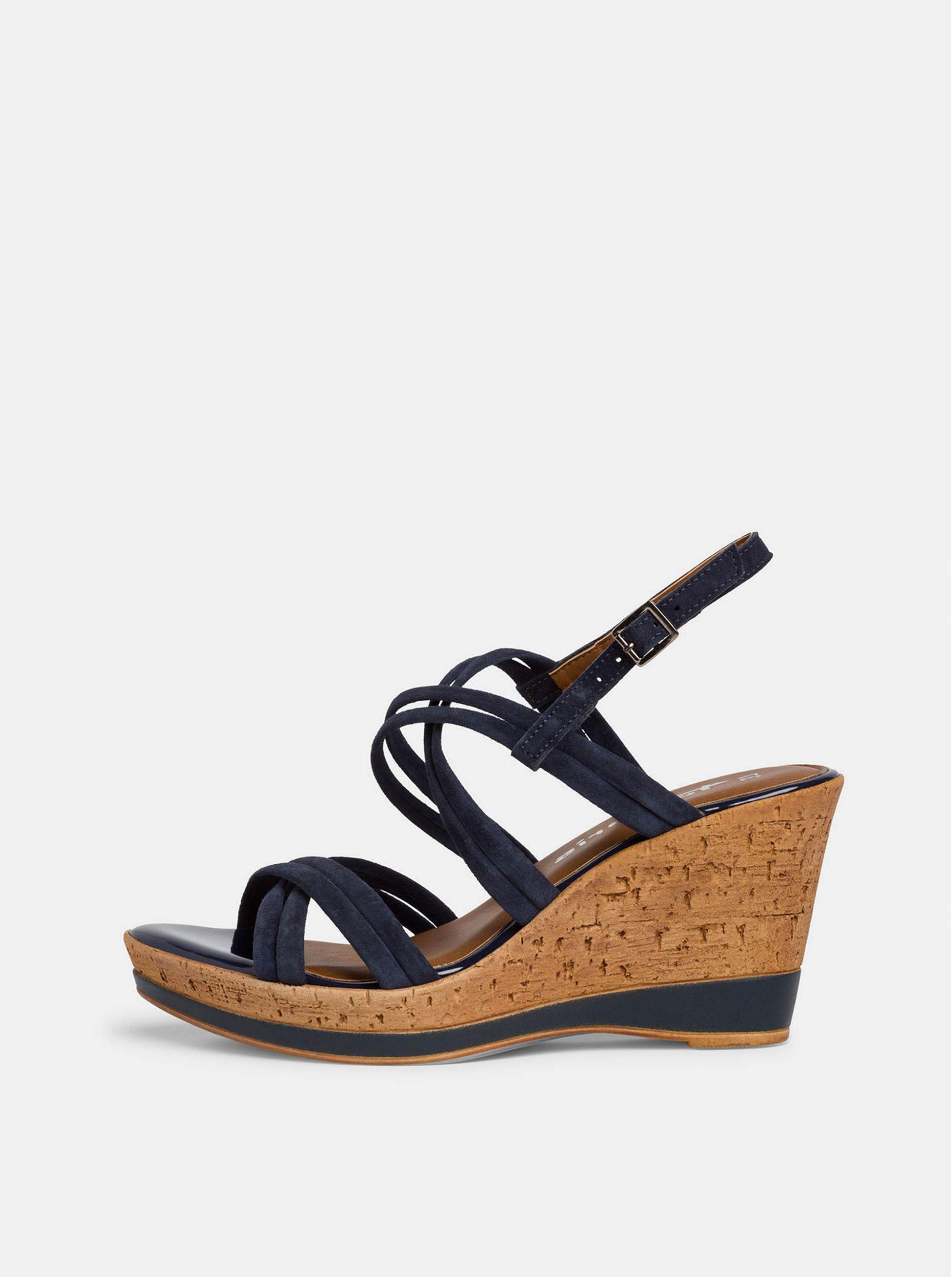 Tamaris tmavě modré semišové boty na klínku