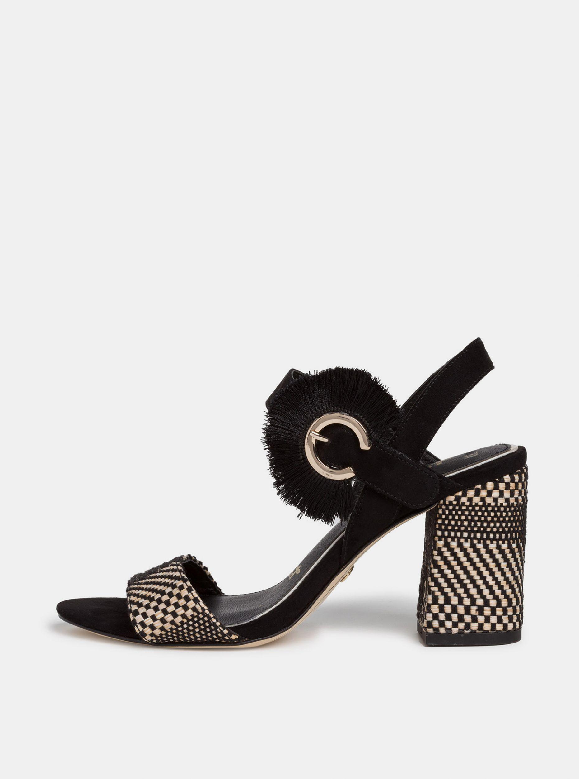 Tamaris černé semišové boty na podpatku