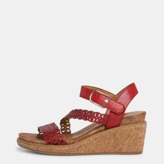 Tamaris červené kožené boty na klínku