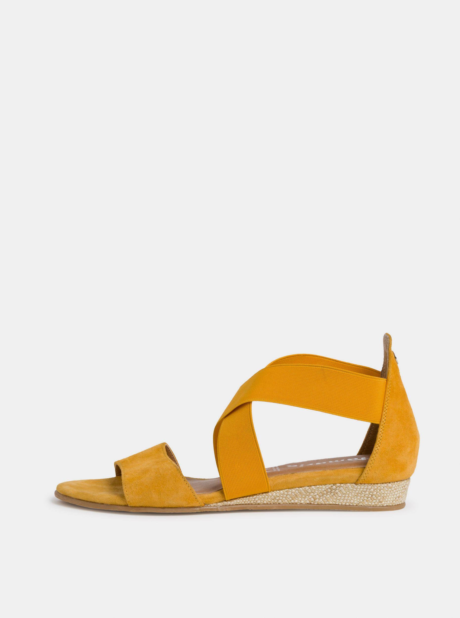 Tamaris žluté semišové sandály