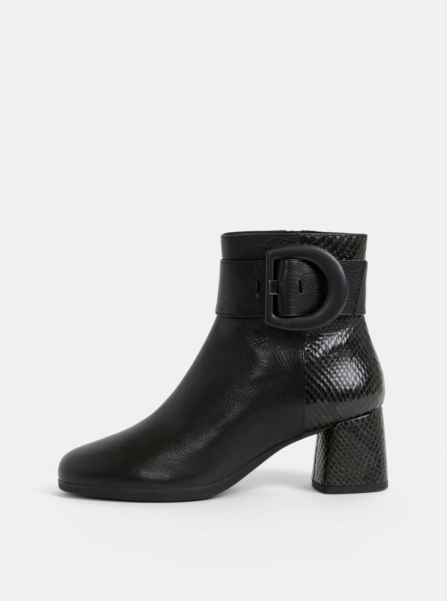 Geox černé kotníkové boty na podpatku s hadím vzorem Calinda