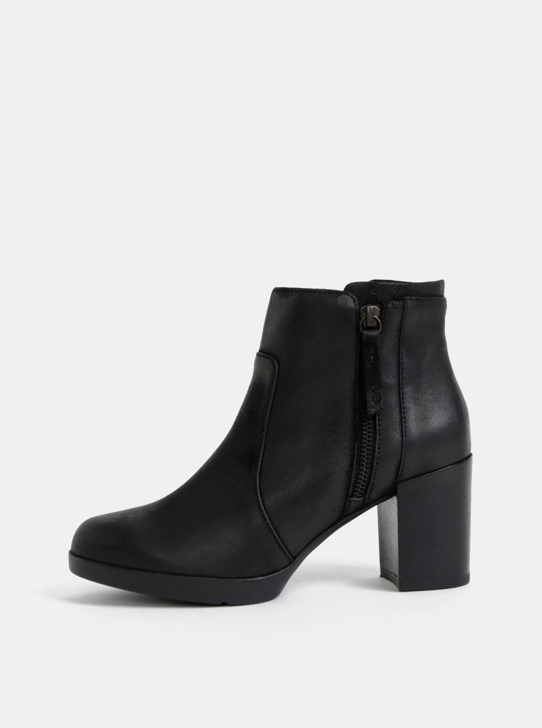 Geox černé kožené kotníkové boty Aneeka