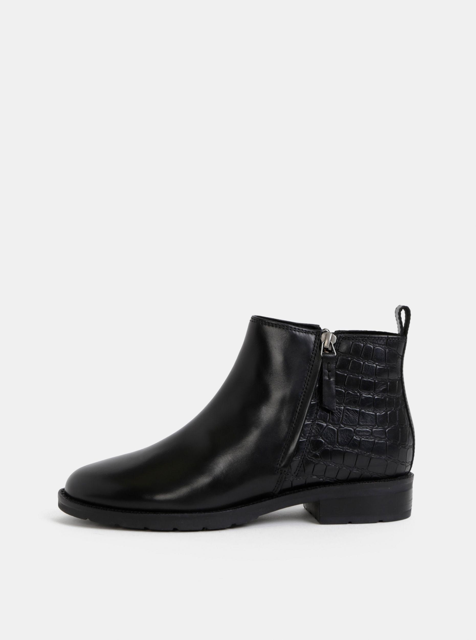 Geox černé kožené kotníkové boty s krokodýlím vzorem Bettanie