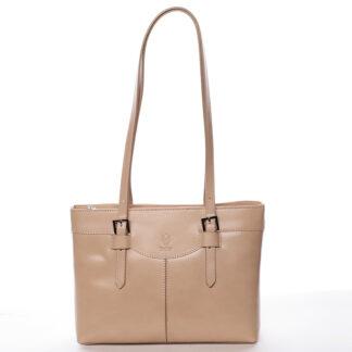 Módní dámská kožená kabelka taupe - ItalY Zoelle taupe