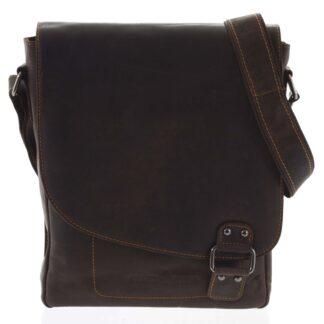 Pánská kožená taška tmavě hnědá - Greenwood Maroon hnědá