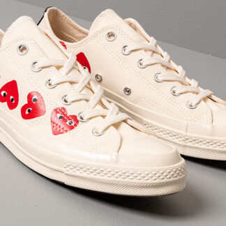 Converse x Comme des Garcons PLAY Chuck 70 Egret/ High Risk Red 162975C