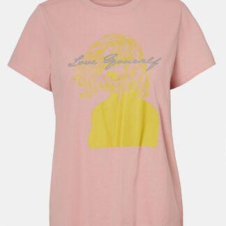 Růžové tričko s potiskem Noisy May Nate