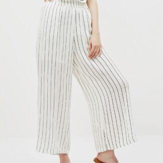 Krémové pruhované kalhoty Noisy May Fleur