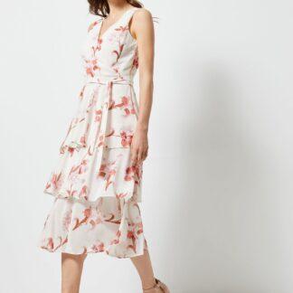 Růžovo-bílé květované midišaty Dorothy Perkins