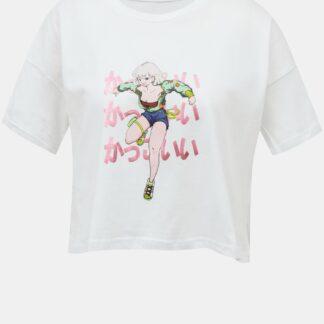 Bílé krátké tričko s potiskem Noisy May Ken