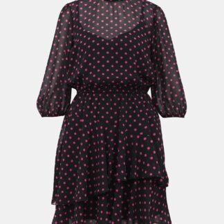 Růžovo-černé puntíkované šaty Dorothy Perkins