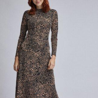 Hnědo-černé midišaty s leopardím vzorem Dorothy Perkins