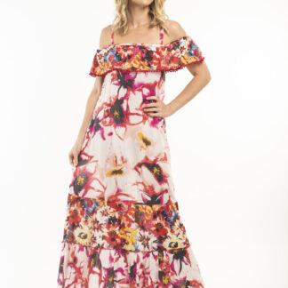 Orientique světle růžové maxi šaty Serifos