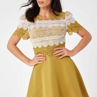 Hořčicové šaty s krajkou Little Mistress