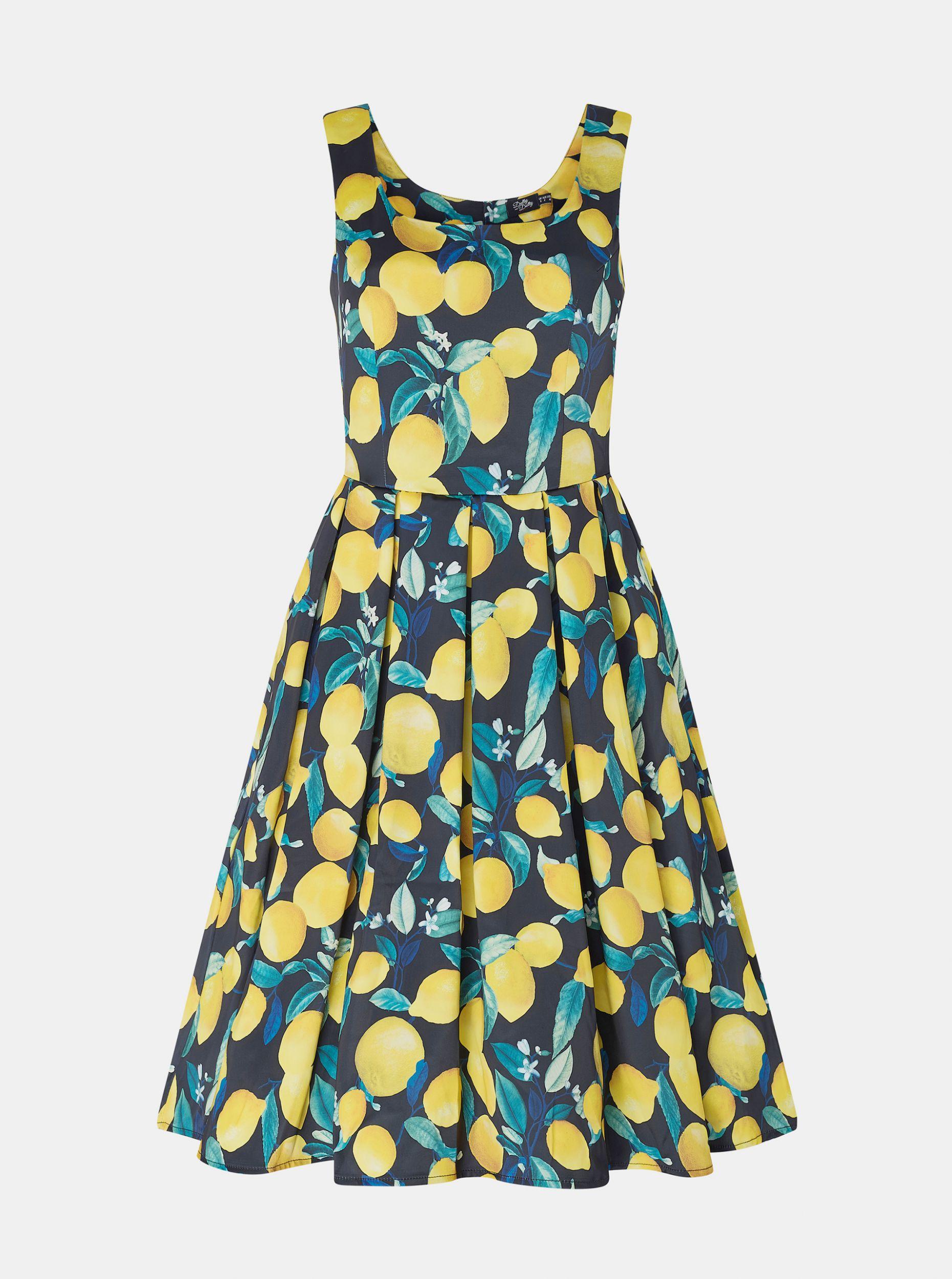 Žluto-modré vzorované šaty Dolly & Dotty