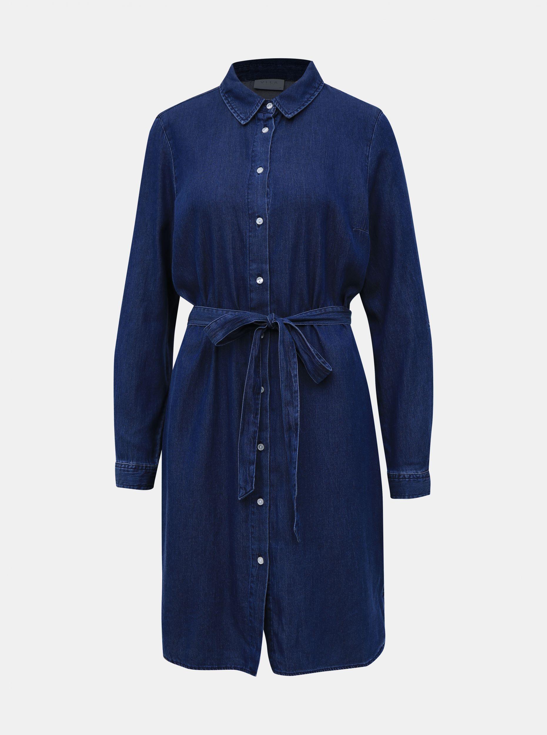 Tmavě modré džínové košilové šaty VILA Bista