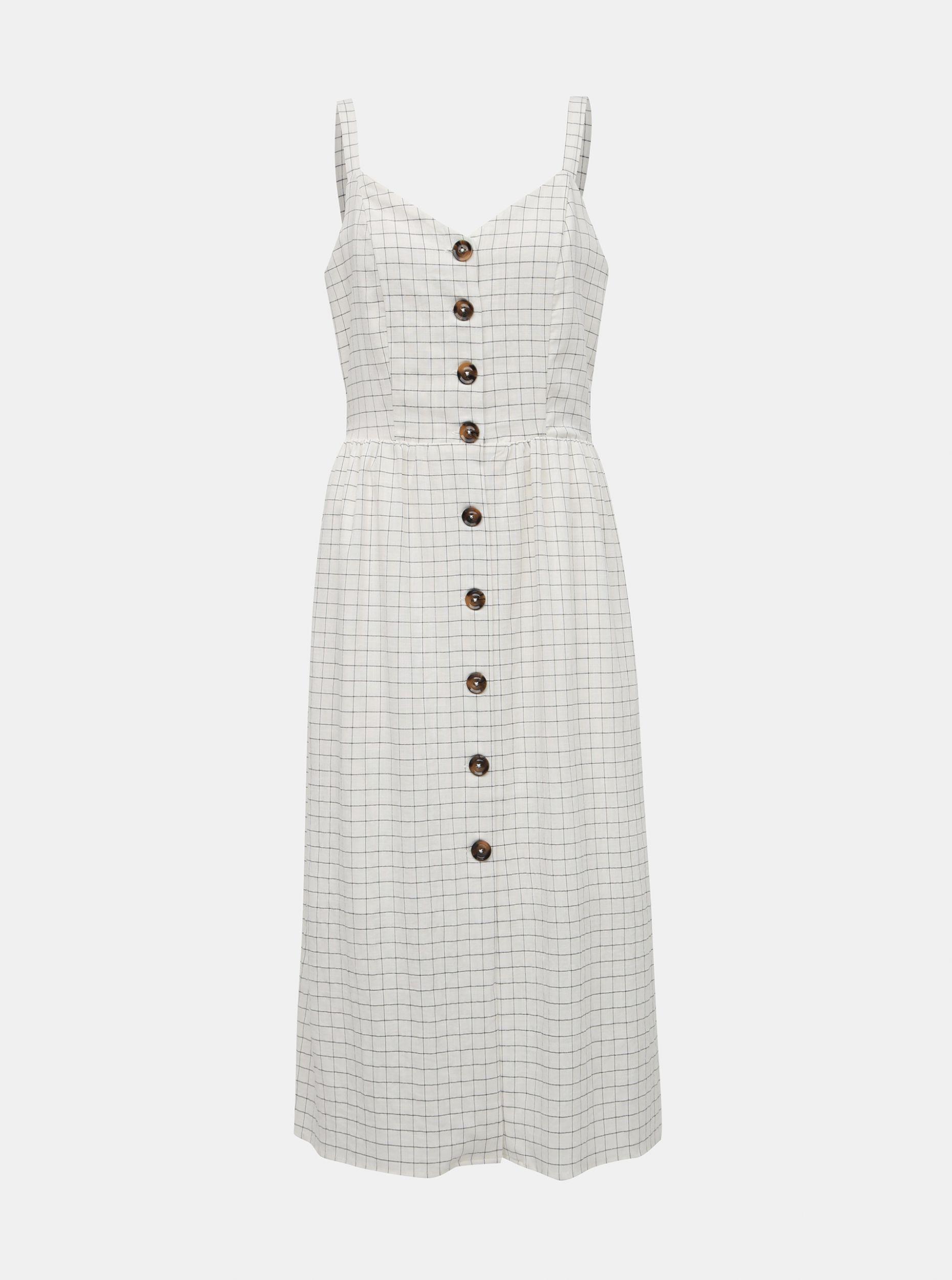 Bílé kostkované šaty VILA Kastanja