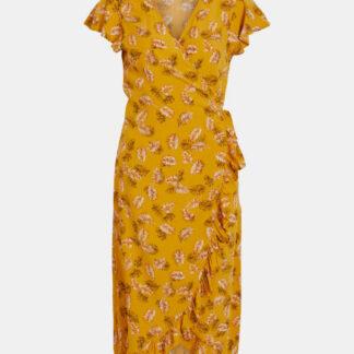 Hořčicové vzorované zavinovací šaty VILA