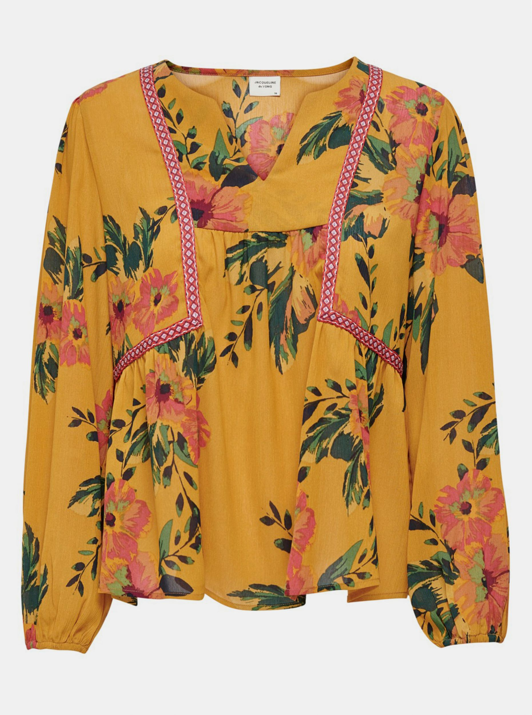Hořčicová květovaná volná halenka Jacqueline de Yong Solis