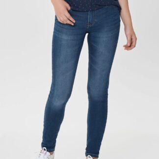 Modré skinny džíny s vyšisovaným efektem Jacqueline de Yong Jake