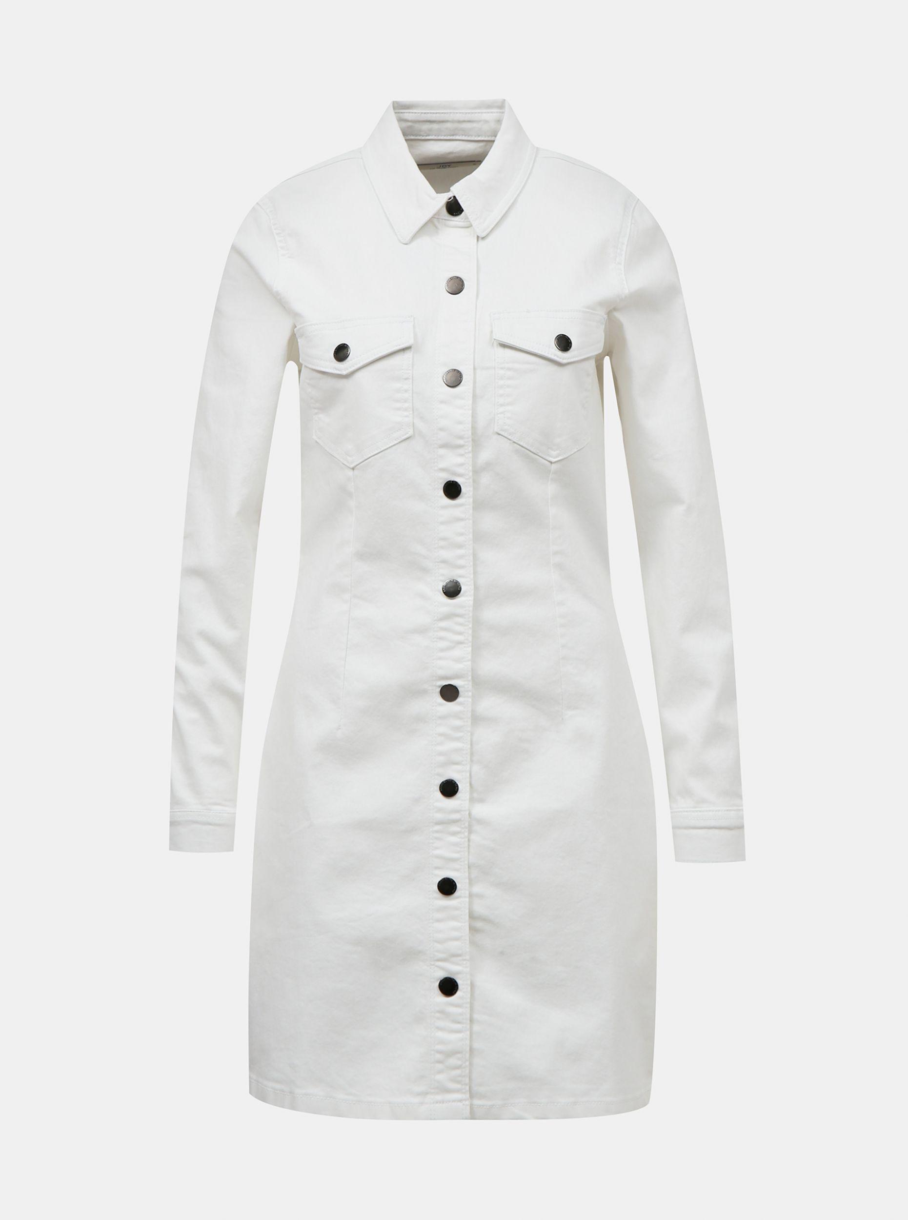 Bílé džínové košilové šaty Jacqueline de Yong Sanna