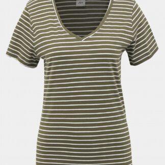 Khaki pruhované basic tričko Jacqueline de Yong Best Live