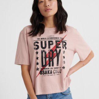 Světle růžové dámské tričko s potiskem Superdry