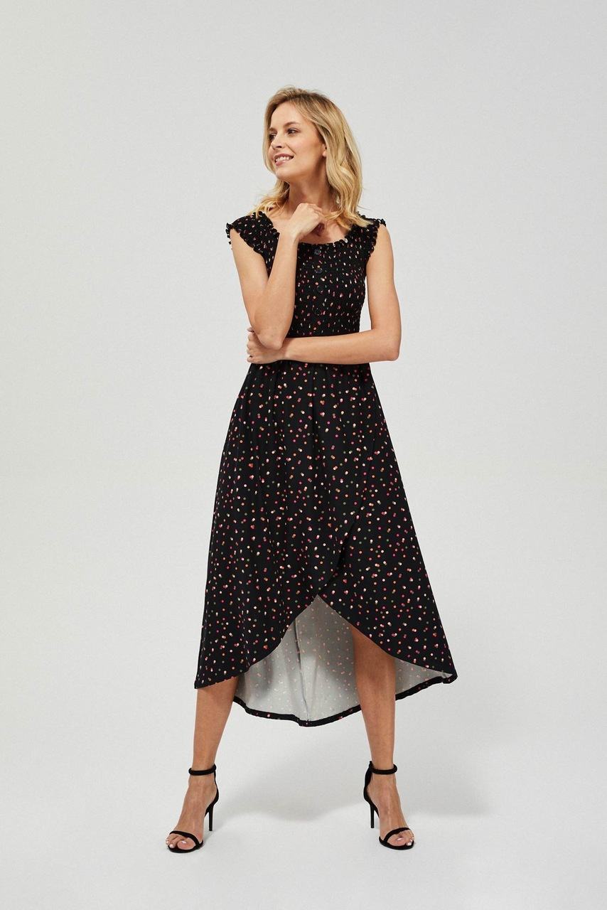 Moodo černé šaty s puntíky