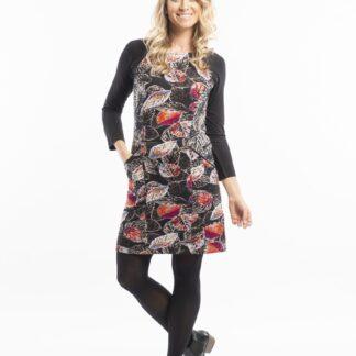Orientique černé šaty La Peiosa s barevnými listy