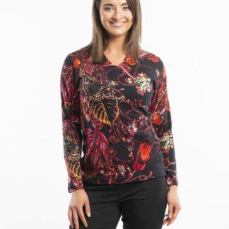 Orientique černé vzorované tričko Floral