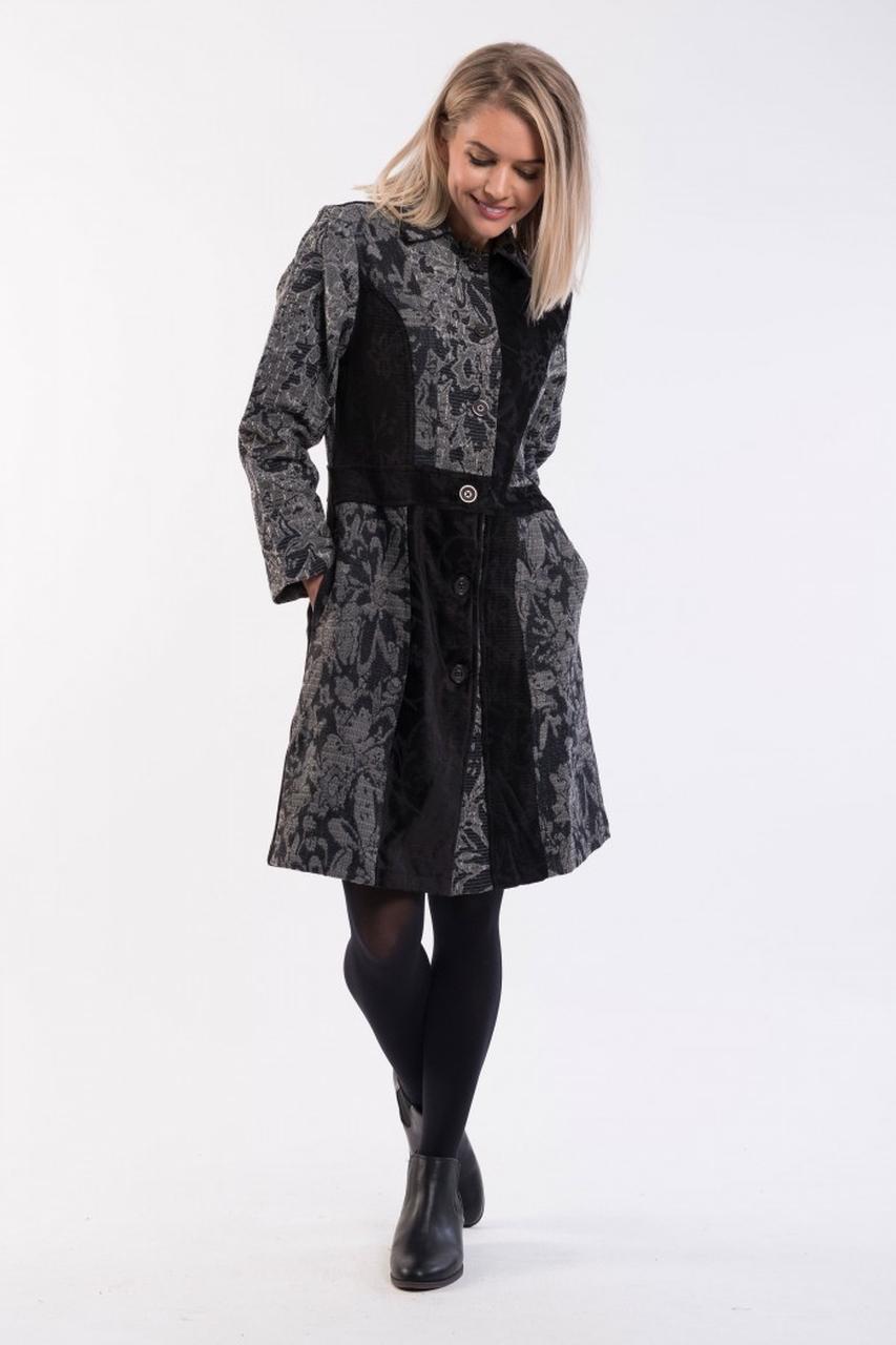 Orientique šedý kabát Coat Collared Black