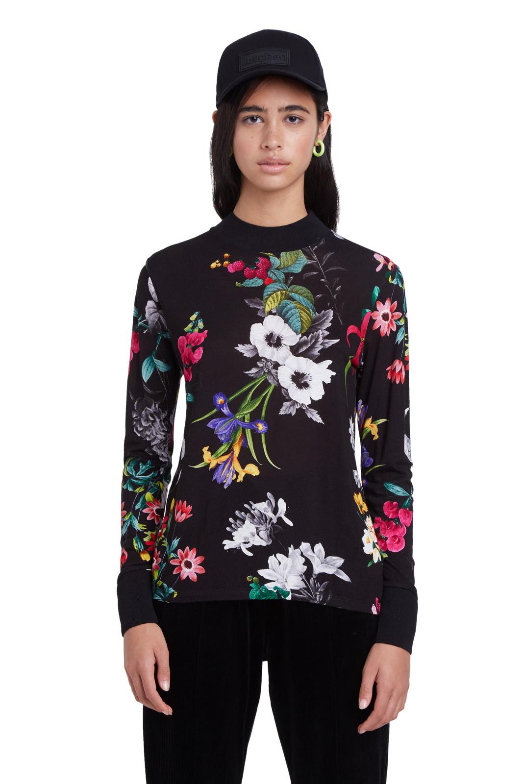 Desigual černé tričko TS Indiana s barevnými květy