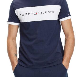 Tommy Hilfiger tmavě modré pánské tričko CN SS Tee Logo Flag Basic