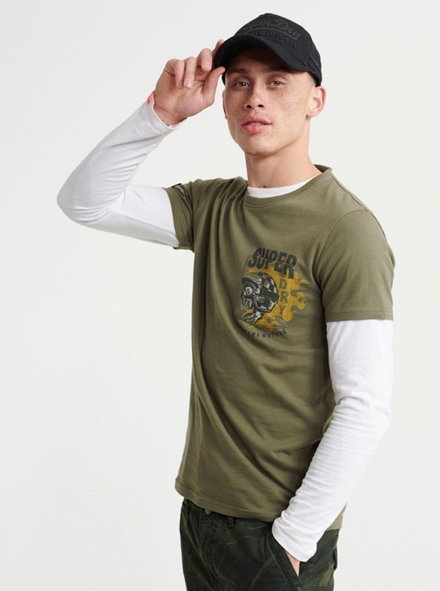 Khaki pánské tričko s potiskem Superdry