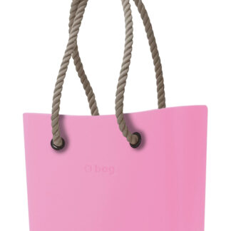 O bag kabelka Pink s dlouhými provazy natural