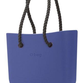 O bag modrá kabelka Cobalto s černými dlouhými provazy