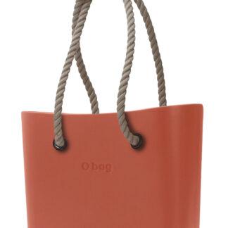 O bag oranžová kabelka Terracotta s dlouhými provazy natural