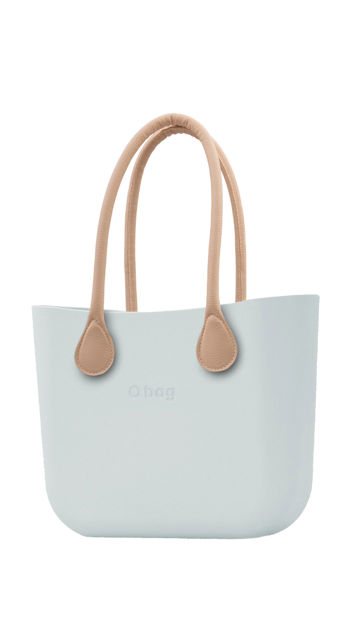 O bag kabelka Polvere s dlouhými koženkovými držadly natural