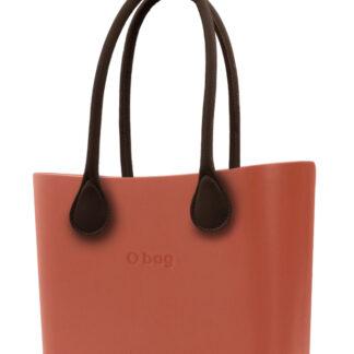 O bag kabelka Terracotta s hnědými dlouhými koženkovými držadly