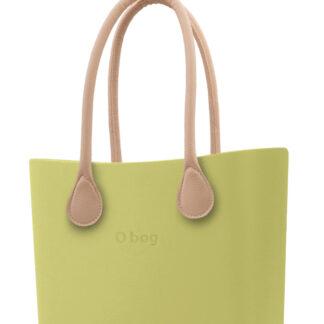 O bag kabelka Celery Green s dlouhými koženkovými držadly natural