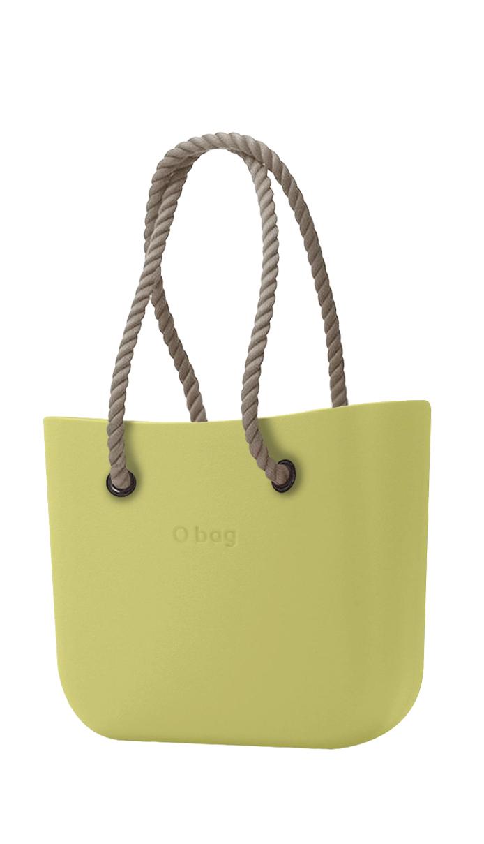 O bag kabelka Celery Green s dlouhými provazy natural