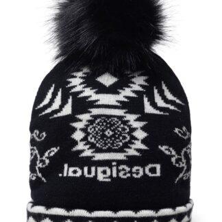 Desigual černá oboustranná čepice Hat Ethnic Reversible