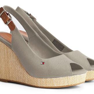 Tommy Hilfiger béžové boty na klínku Iconic Elena Back Wedge