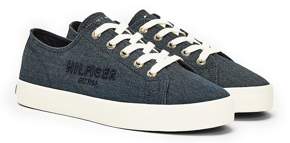 Tommy Hilfiger tmavě modré tenisky Logo Embroidery Low Top Trainers