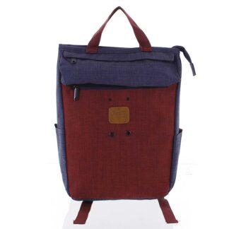 Stylový modro-červený látkový batoh - New Rebels Javan modrá