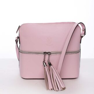 Módní dámská kožená crossbody kabelka růžová - ItalY Farzana růžová