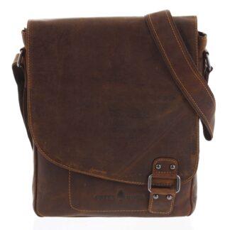 Pánská kožená taška hnědá - Greenwood Maroon hnědá
