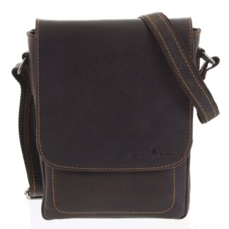 Pánská kožená crossbody taška tmavě hnědá - Greenwood Nash hnědá