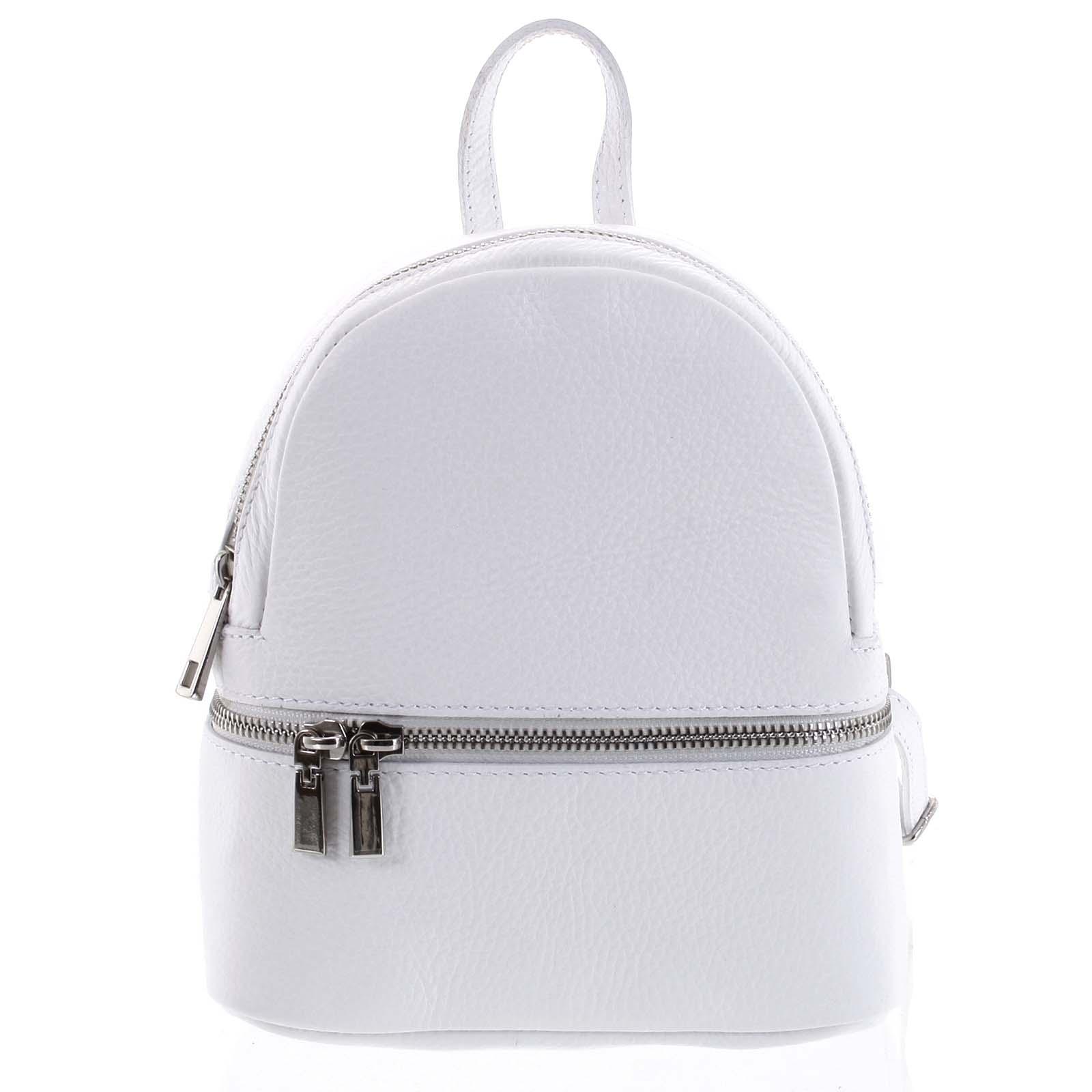 Dámský kožený batůžek bílý - ItalY Rocme bílá