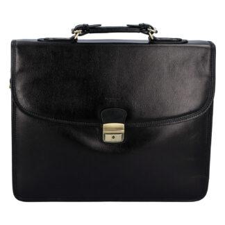 Luxusní pánská kožená aktovka černá - Hexagona Ruperto černá